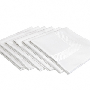 8376 Satin Band Checker-Trim Napkin, 100% Cotton -NEW!